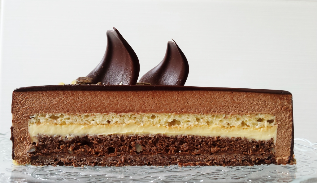 chocolate mousse entremet with coffee