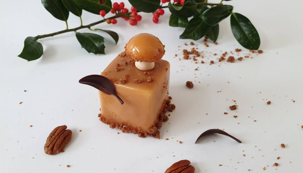 stwede pear mushroom pastry with chocolate leaf