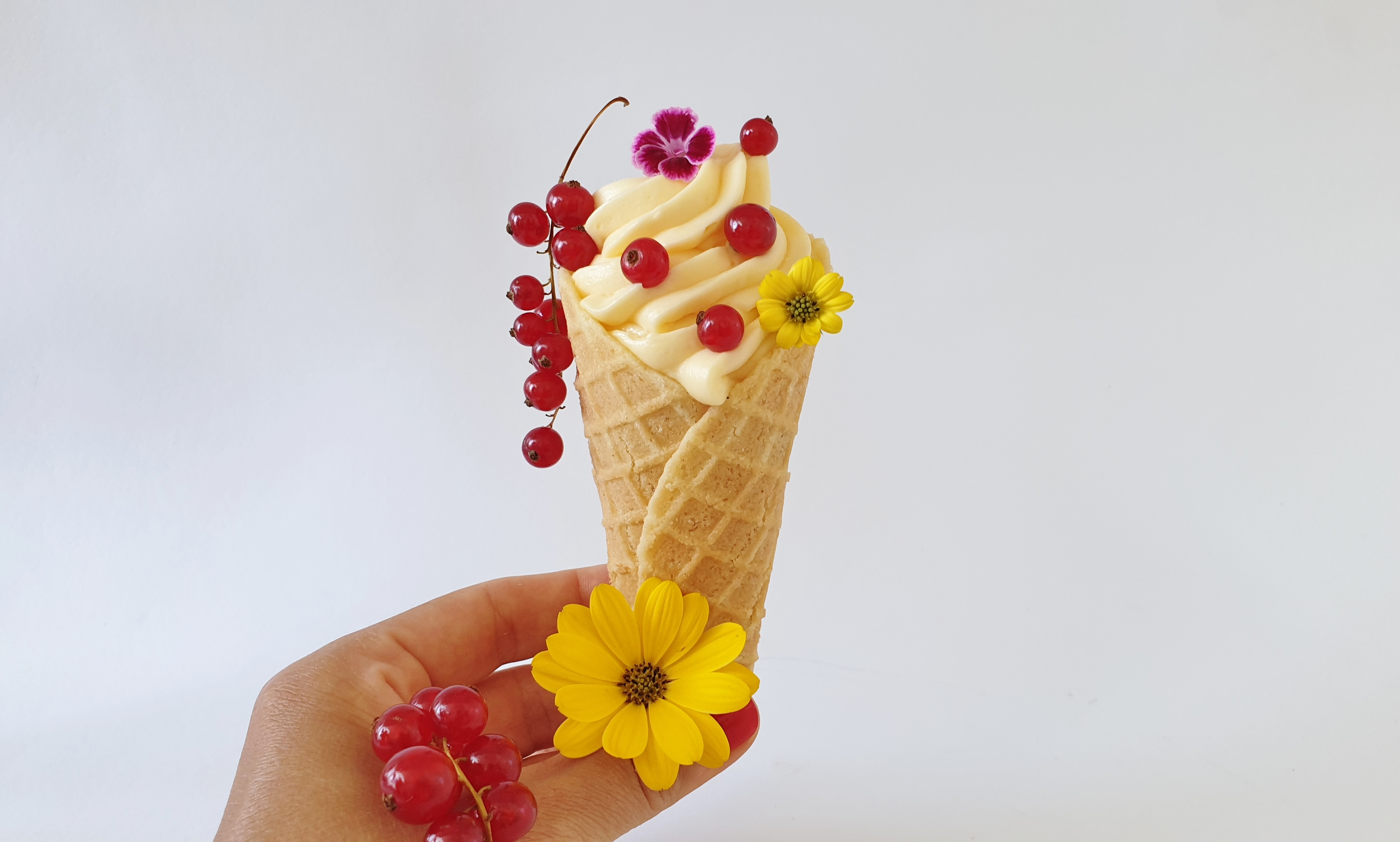 pastry cream cornet with red currants and flowers
