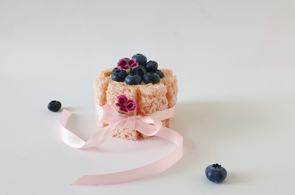 pink mini charlotte cake with blueberries